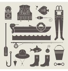 Fishing icons vector