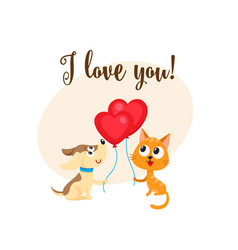 I love you card with dog cat heart shaped vector