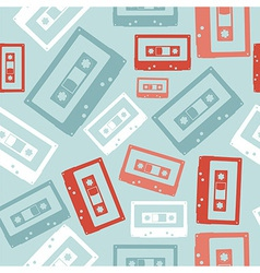 Vintage audio tapes pattern vector