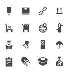 black marking of cargo icons set vector image