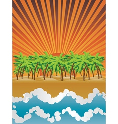 Sunset island vector