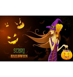 Witch in halloween night vector