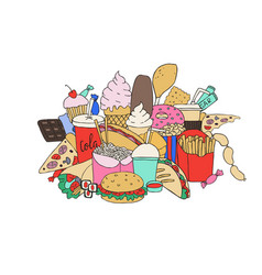 Big set of hand drawn doodle fast food hand drawn vector