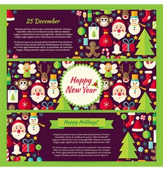 Happy new year winter template banners flat set vector