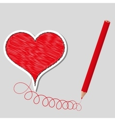 Primed heart and pencil vector