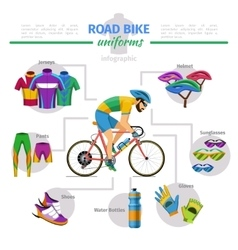 Road bike uniforms infographic vector