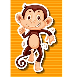 Monkey dancing on yellow background vector