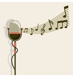Microphone and music note icon retro and music vector