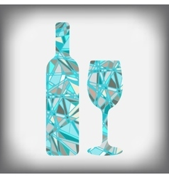 a bottle of wine with a glass abstract figure vector image