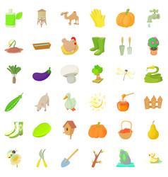 Big farm icons set cartoon style vector