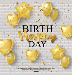 birthday background with golden balloons and vector image