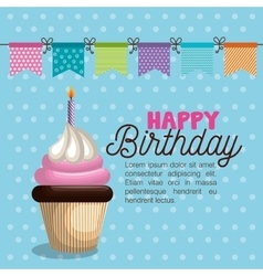 Birthday card cupcake garland party vector