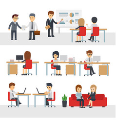 business people work at office cartoon vector image vector image
