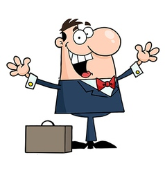 Businessman Holding His Arms Up By A Briefcase vector image