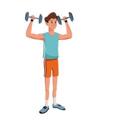 Character man lifting heavy barbell vector