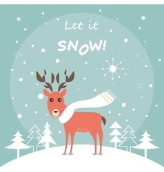 Cute Deer in the Winter Forest Christmas Card vector image vector image