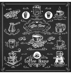 Decorative vintage coffee icons vector image vector image