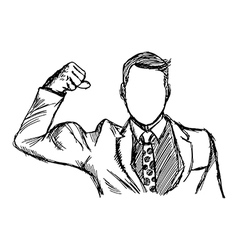 expressive businessman flexing muscles vector image vector image