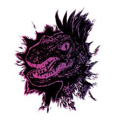 Grunge velociraptor portrait vector