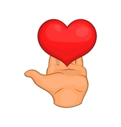 Hand giving red heart icon cartoon style vector image