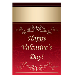 happy valentines day - red background with gold vector image