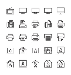 Hotel outline icons 4 vector
