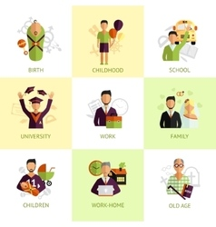 Human life stages icons set flat vector