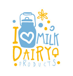 i love milk dairy products logo symbol colorful vector image vector image