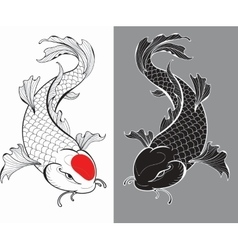 Koi carps tattoo vector