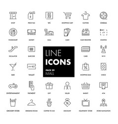 line icons set mall vector image vector image