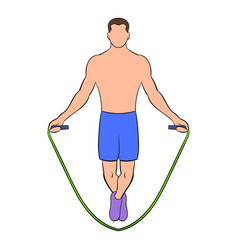Man jumping with skipping rope icon cartoon vector