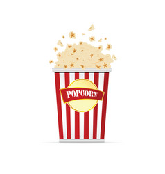 Popcorn in paper red and white bag vector