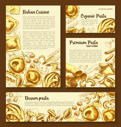 Posters templates set of italian pasta vector