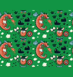 Seamless pattern with viking for design fabric vector