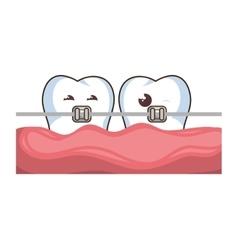 set teeth funny character kawaii style vector image