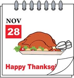 Thanksgiving cartoon calendar vector image