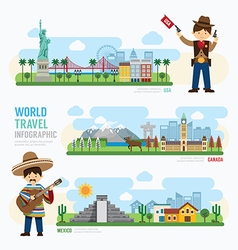 Travel and outdoor Landmark mexico canada usa vector image vector image
