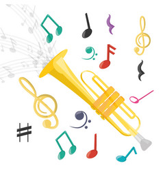 Trumpet instrument with musical notes vector