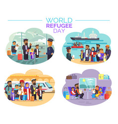 World refugee day poster with people who move away vector