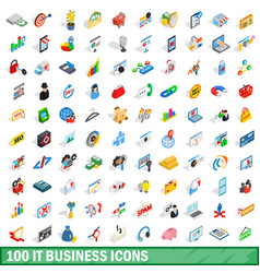 100 it business icons set isometric 3d style vector image