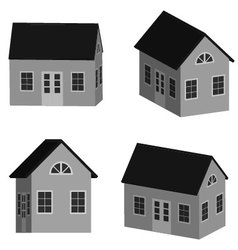 Grey little house in 3d vector