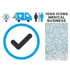Yes rounded icon with medical bonus vector
