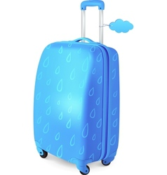 Blue travelers suitcase with rainy pattern vector