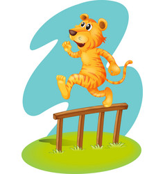 A brave tiger jumping over the wooden fence vector image
