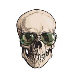 Hand drawn human skull wearing green aviator vector