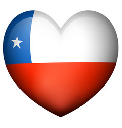 Flag of chile in heart shape vector