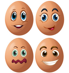 Eggs with four different facial expressions vector