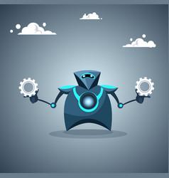 Modern robot holding cog wheel artificial vector