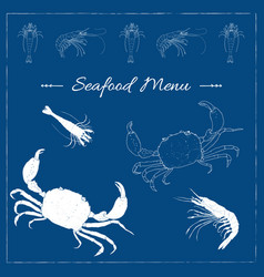 seafood hand drawn sketch of crab and shrimp vector image