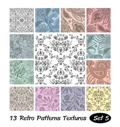 13 retro patterns textures set 5 vector